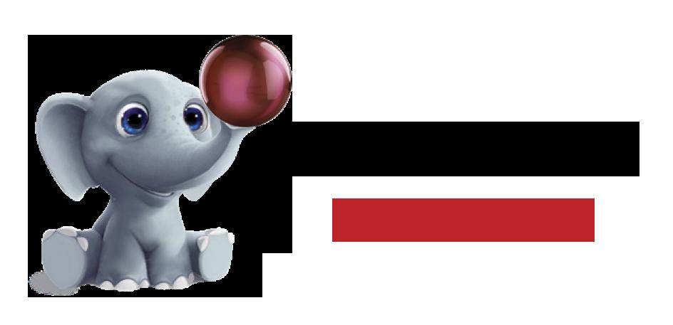 logo baby elephant with wordmark r