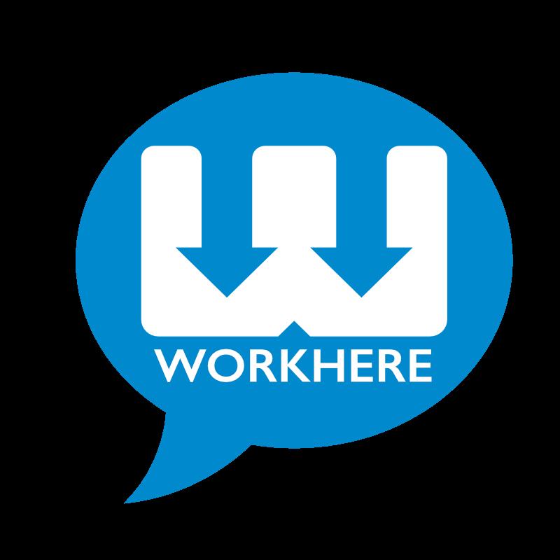 WorkHere square logo blue on transp